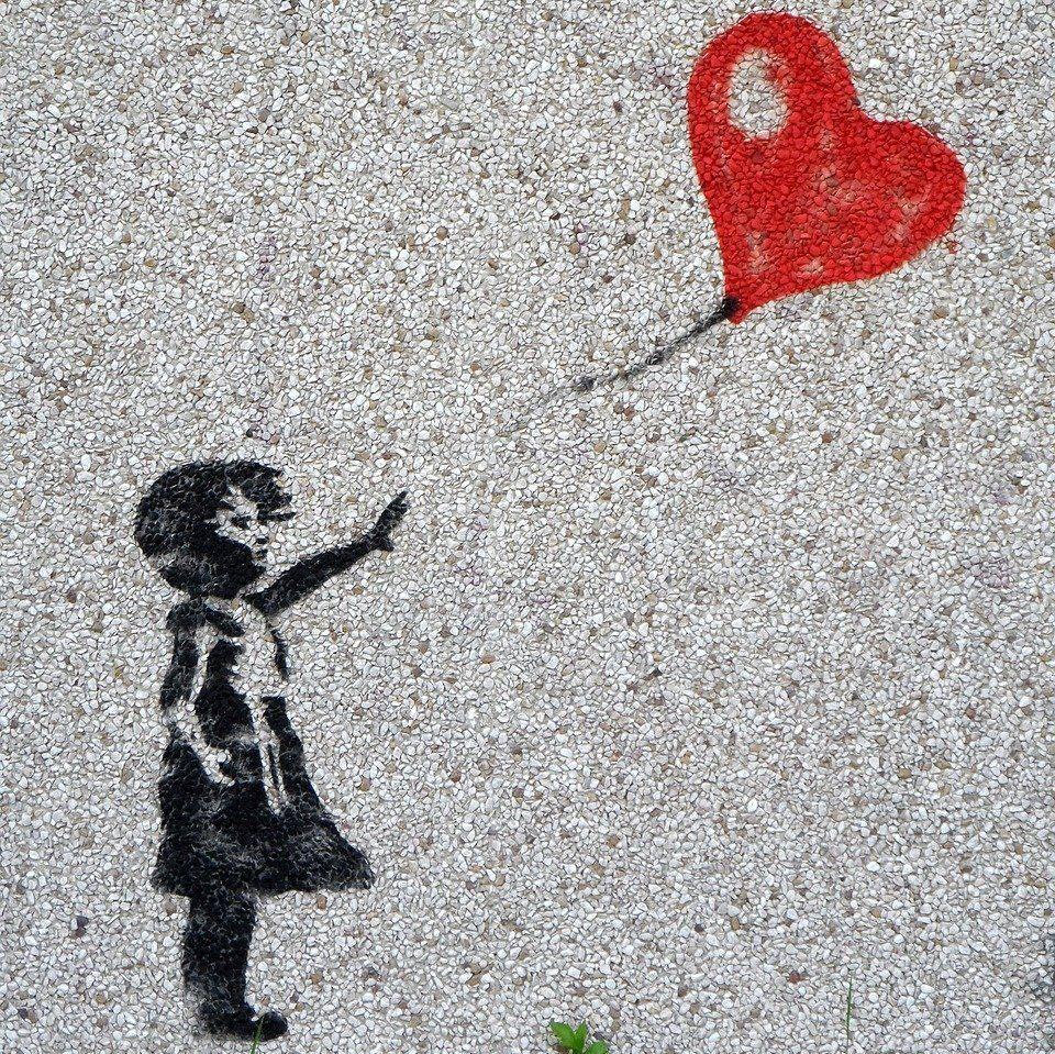 mural, girl, balloon